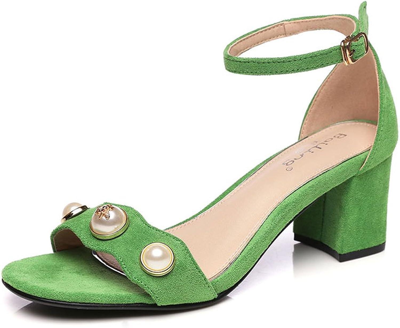 H&Y HY Sommer Stil Mit Einem Wort Schnalle Sandalen Weibliche Schwarze Perle Mode Weibliche High Heels Flut (Farbe   Grün, größe   36)  | Hochwertig  | Qualität und Quantität garantiert  | Ermäßigung
