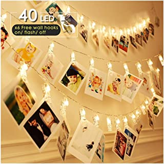 ANJAYLIA LED Photo Clip String Lights, Battery Operated Fairy Lights Warm White 16.4ft 40LED Hanging Polaroid Pictures Photos, Ideal Gift for Her Christmas Dorms Bedroom Decoration