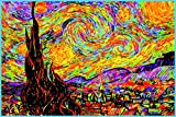 Starry Night Vincent Van Gogh Painting Colorful Cool Psychedelic Trippy Hippie Decor UV Light Reactive Black Light Eco Blacklight Poster for Room