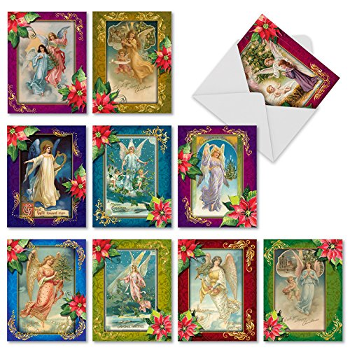 Christmas Angels - 10 Pack of Religious Season's Greetings Cards with Envelopes (4 x 5.12 Inch) - Christian Holiday, Merry Christmas Notecard Set - Assorted Angel Note Cards M1747XS