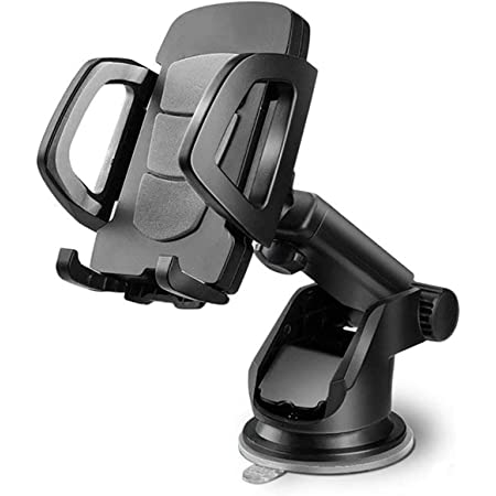 HIKER Universal Dashboard Mount Car Mobile Phone Holder for Dashboard & Windshield with 360 Rotating Adjustable Long Arm & Sticky Suction Gel Pad for All Smartphones
