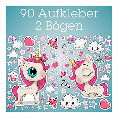 folien-zentrum Einhorn Aufkleber 90 Stück auf 2 Bögen Unicorn Kinder-Sticker Set Bogen Zubehör Mädchen Sterne Wolken Herz Schmetterling Diamant Regenbogen (Set 4)