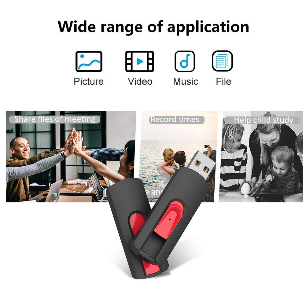 JUANWE 3 Pack 64GB USB Flash Drives USB 2.0 Retractable Slide Thumb Drives Fold Storage Memory Stick Red//Blue//Black