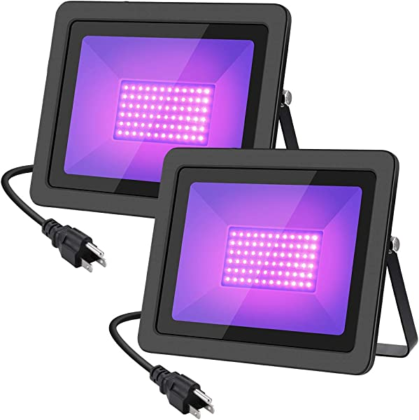 WELKEY PLUS 2 Pack 80W UV LED Black Light Flood Light With Plug 6ft Cable IP66 Waterproof For Blacklight Party Stage Lighting Aquarium Body Paint Fluorescent Poster Neon Glow Glow In The Dark