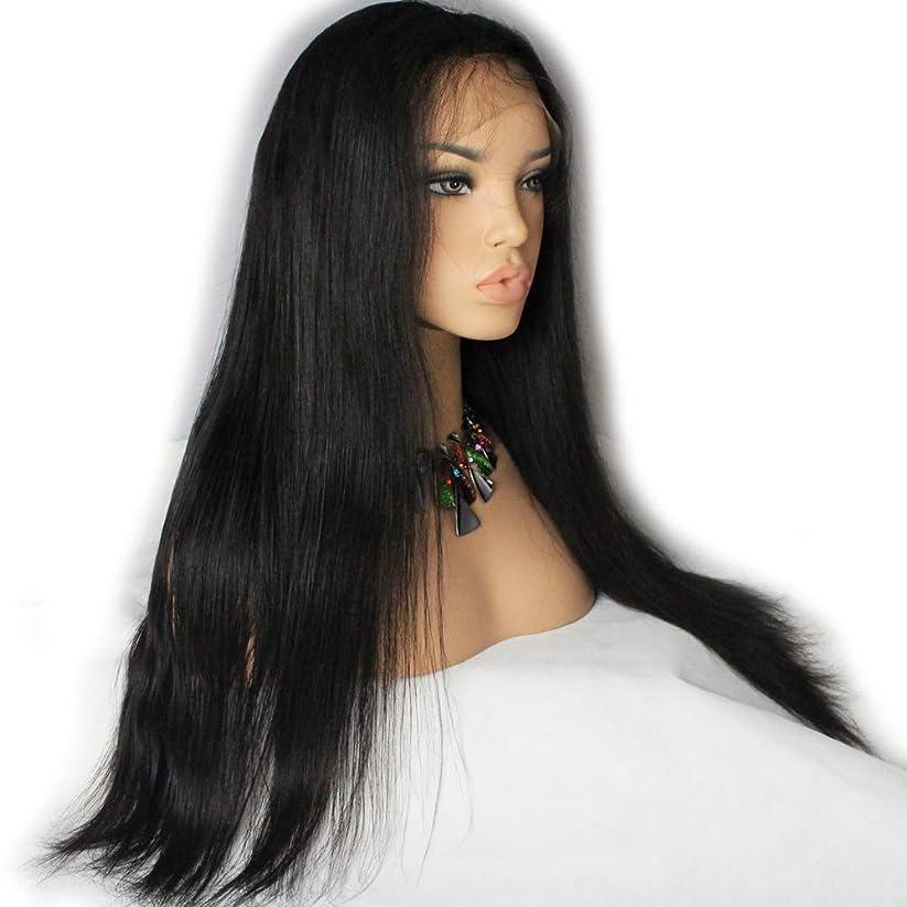 シュリンクファッションギャングスター女性レースフロントかつら180%密度バージンブラジルストレート人毛グルーレスレース前頭かつら赤ん坊の毛黒26インチ