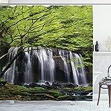 ABAKUHAUS Cascada Cortina de Baño, Árbol de Roca en la Cascada, Material Resistente al Agua Durable Estampa Digital, 175 x 200 cm, Negro Blanco y Verde