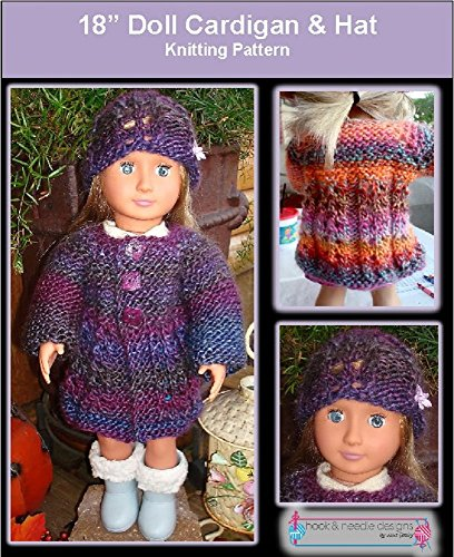 "18"" Doll Cardigan & Hat - Knitting Pattern (English Edition)"