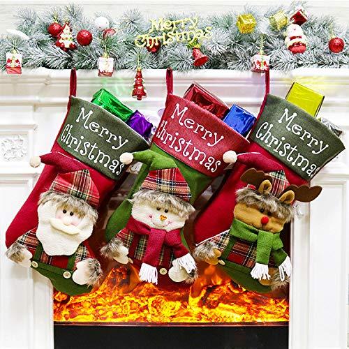 romathlik Weihnachtsstrumpf, weihnachtsstrumpf für Weihnachtsschmuck, Hängeornament, Geschenke Taschen und Süßigkeiten Taschen (1)…