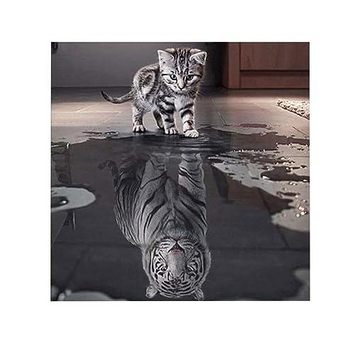 5d gatos tigre Needlework patrones diy Diamond pintura de punto de cruz contado, 25*