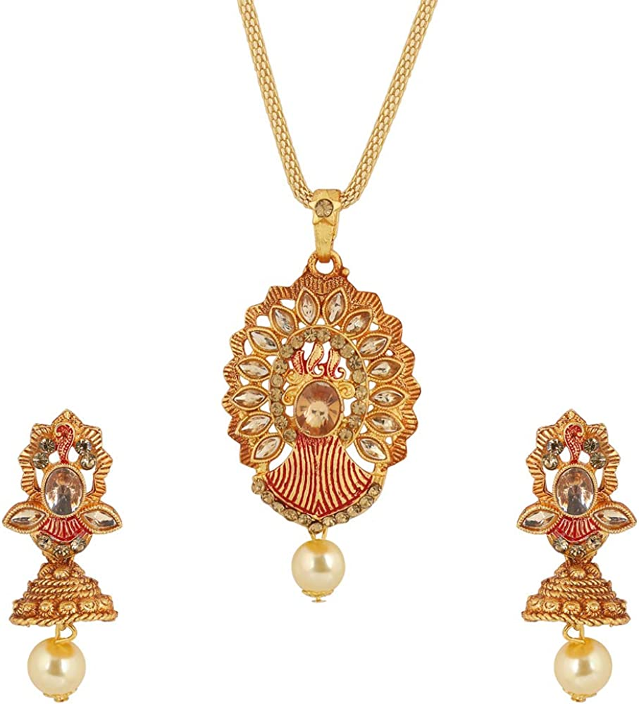 MUCH-MORE Indian Bollywood Pendant/Necklace Pearl Handmade Necklace Earrings Traditional Jewelry