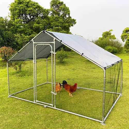 Hiwokk Large Metal Chicken Coop Walk-in Poultry Cage Chicken Run Dog Kennel Chicken Pen Spire Shaped Coop with Waterproof and Anti-Ultraviolet Cover for Backyard Farm Use(9.8'L x 6.6'W x 6.4'H)