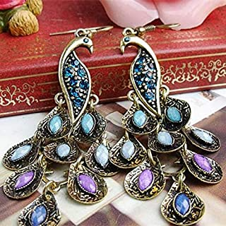 BESTPICKS Long Crystal Earrings Vintage Peacock Eardrop Ethnic Earrings for Women Jewelry