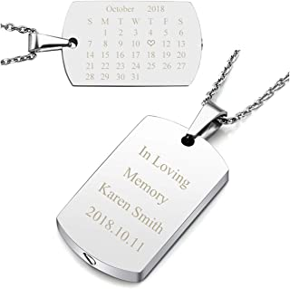 Personalized Master Free Engraving Custom Special Date Calendar Military Army Dog Tag Pendant Urn Necklace/Keychain for Ashes Memorial Keepsake Cremation Jewelry with Funnel Filler Kit