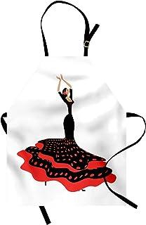 ABAKUHAUS Spanisch Kochschürze, Sexy spanische Flamenco-Dame im folkloristischen Tupfen-Kleid-hispanische Zigeunerkultur, Höhenverstellbar Klare Farben ohne verblassen, Anthrazit Grau