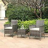 TMEE Rattan Gartenmöbel 3-teiliges Lounge-Set, Terrassenmöbel, Balkonmöbel, einschließlich 2 Sesselnund 1 Tisch in Schwarz, Mix Grey, Vintage Braun (Grau)