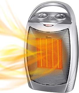 DASGF Pequeño Ventilador Calefactor, PTC eléctrico Ventilador Calentador de cerámica, 120 ° de oscilación, de vuelco y Protección del sobrecalentamiento, Tranquilo, Oficina(750W / 1500W)
