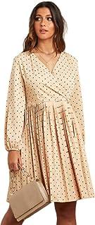 Pleated Polka Dot Long Sleeves Midi Dress (XLarge)