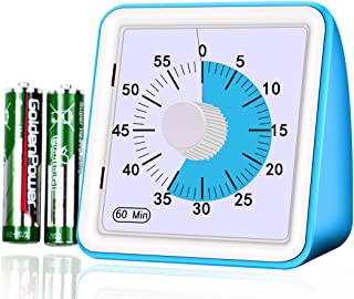 Smilco Visual Analog Timer, 60 Minute Countdown Silent Timer for Kids and Adults, Timer Management Tool for Classroom Teaching and Office Meeting (Blue)