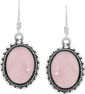 Natural Moonstone Labradorite Lapis Rose Quartz Dangle Earrings 12x16mm Oval Shape Gemstones 925 Silver Overlay Handmade Dangle Earrings