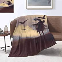 Luoiaax Horror Commercial Grade Printed Blanket Dark Soul from a Scary Movie on The Hills with Clouds and Flying Crows Print Queen King W70 x L70 Inch Brown Mauve Begie