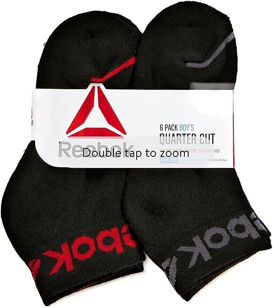 Reebok Boys Socks, 6 Pack Quarter Cut Multisport Socks S-L
