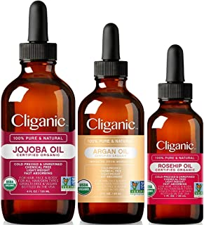 Cliganic Organic Carrier Oil Trio: Jojoba, Argan & Rosehip