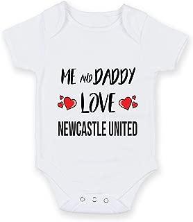 Cheyan Me and Daddy Love Newcastle United - Personalised Football Team Baby Boy Girl Unisex Short Sleeve Vest Bodysuit