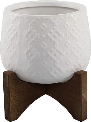 """Flora Bunda 3.5 Inch Indian Ceramic on Stand Mid Century,Matte White 3.5"""""""