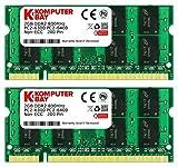 Komputerbay - Memoria SODIMM (200 PIN) para portátiles, 4GB (2 x 2GB), DDR2, 800MHz, PC2-6300/PC2-6400