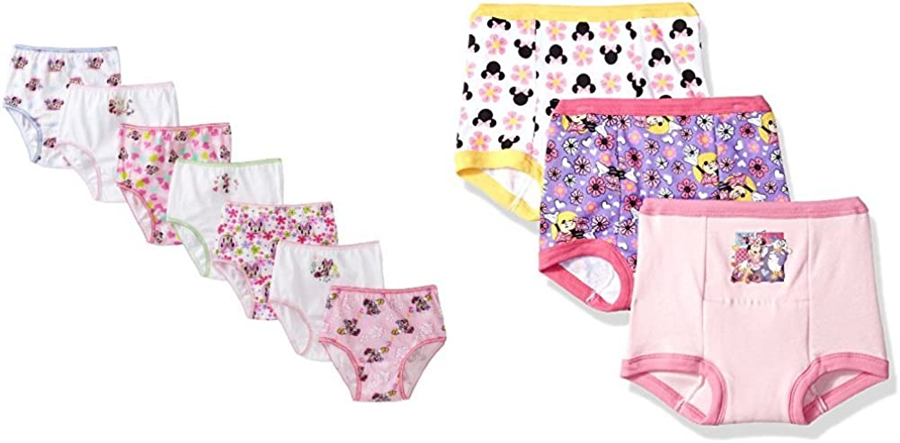 Disney Little Girls' 10 Pack Minnie Mouse Training Pant and Underwear Bundle