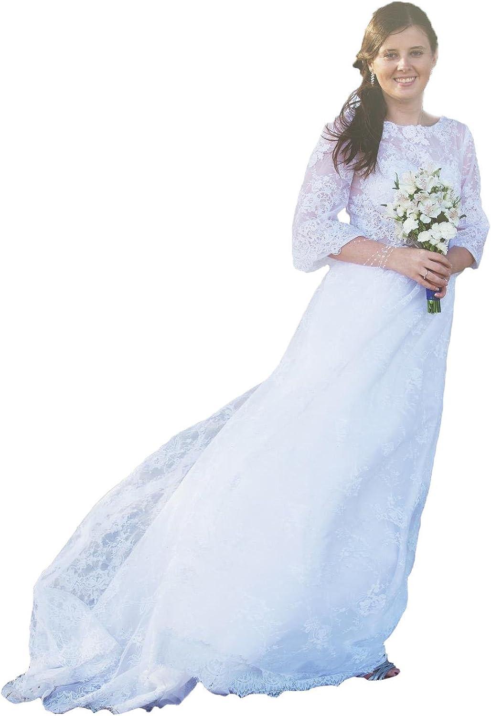 Cdress Lace Wedding Dresses Sheer 3 4 Long Sleeves Bohemian Bridal Gowns Sweep Train