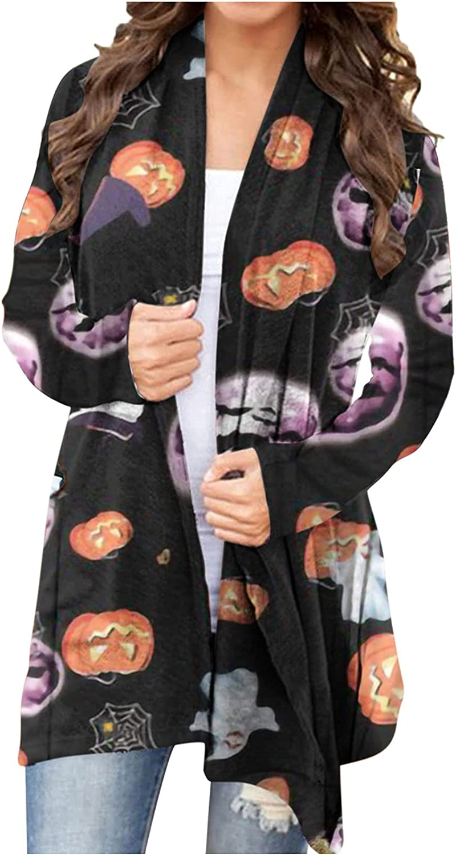 Cardigan Sweaters Women Long Sleeve Halloween Animal Cat Pumpkin Print Cardigan Autumn Coat Blouse