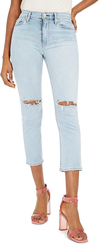 HUDSON Jeans Barbara High-Waist Crop Straight in Worn Strangers
