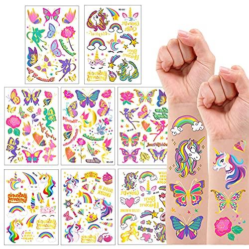 Jatidne Tatuaggi Glitterati per Bambini Tatuaggi per Bambini Farfalla Tatuaggi Bambini Unicorno Tatuaggi Temporanei Bambini 8 Fogli (Farfalla e Unicorno)