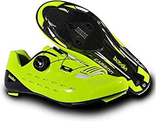 ZMYC Men's Bike Road Cycling Lock Shoes, Cycling Shoes Ultralight And Breathable Carbon Fiber Bicycle Shoes Anti-Slip Wear Resistant Bicycle Shoe (Color : Green, Size : 43)