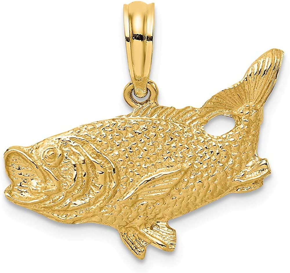超歓迎された Solid 14k Yellow Gold 2-D Bass Fish 品質検査済 13mm Tail Charm Up Pendant -