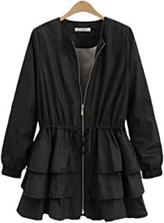 Womens Long Sleeve Open Front Zipper Work Ruffle Jacket Coat