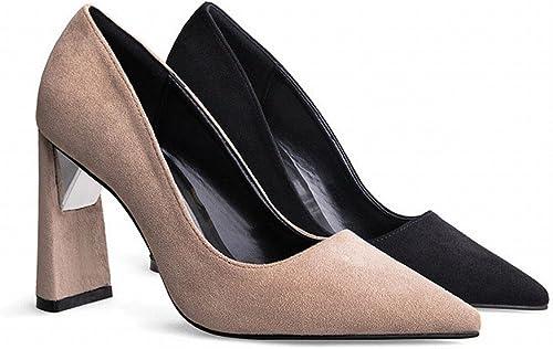 CXY Professionnel OL Sexy épais avec des Talons Hauts a Souligné la Mode Chaussures Discothèque Couleur Unie Bouche Peu Profonde Chaussures,Kaki,36