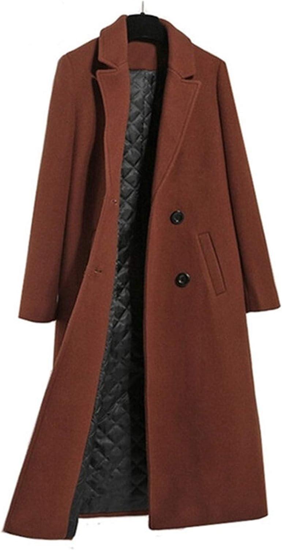 DZHT Women Jacket Coat Warm Thick Slim Long Overcoat Plus Size Female Casual Jacket Black Caramel (Color : Caramel, Size : Medium)
