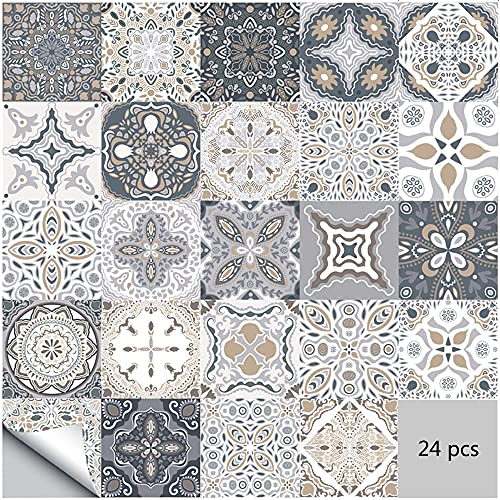 Adesivi per piastrelle da parete autoadesivi 24 pezzi Adesivi stile marocchino impermeabili per arredamento bagno cucina fai da te (24 pezzi, 10×10cm)