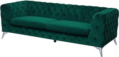 Beliani Sofá tapizado en Terciopelo Verde SOTRA
