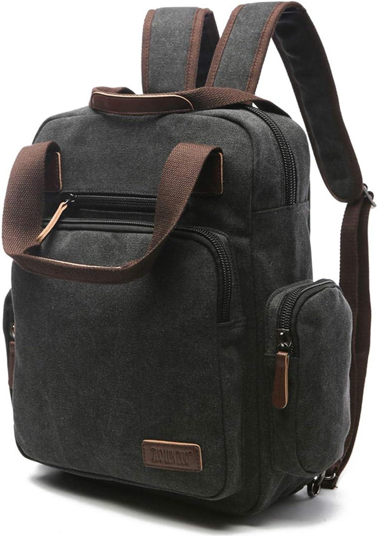 WEATLY Mnner Frauen Rucksack Daypack Wasserdichte Vintage Reiverschluss Leinwand Reise Laptop Taschen Outdoor (Farbe   schwarz)