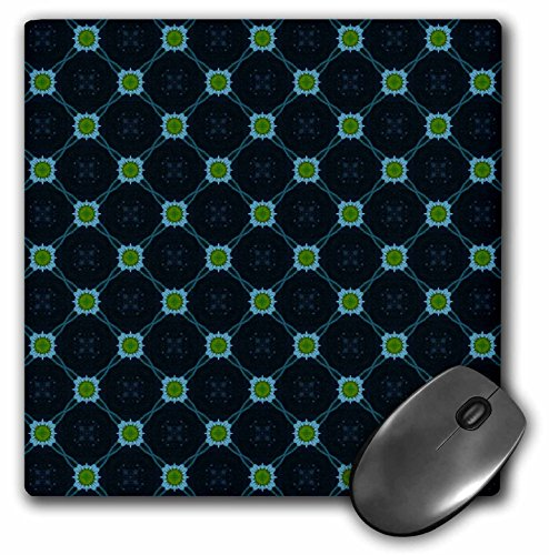 3dRose Jaclinart Blue Green and Navy Geometric Floral Collection - Blue and Moss Green Abstract Geometric Shapes on a Navy Blue Background - Mousepad (mp_63953_1)
