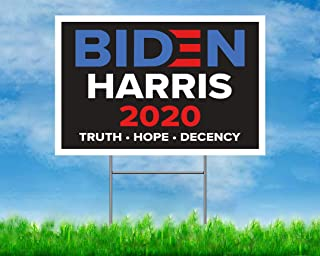 GAGEC 18 x 12 Inches Large Biden Harris Yard Sign 2020 Lawn Signage with Metal Stake Outdoor Water Resistant Double Sided Print YS-Black