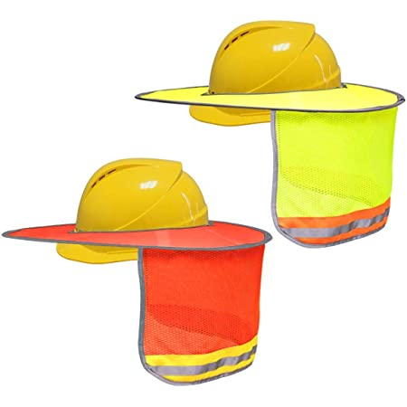 2 Pack Hard Hat Sun Shade Visor Llamaababie Full Brim Mesh Neck Shield Yellow