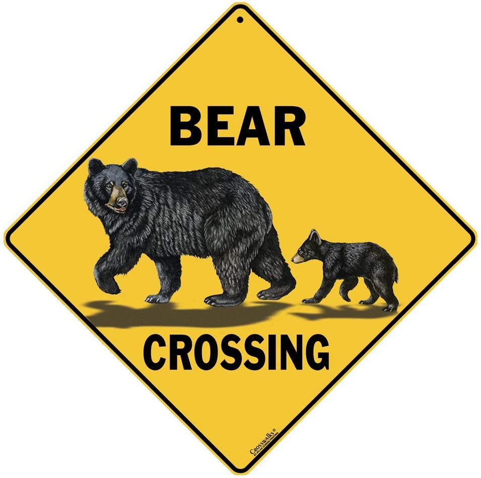 Crossings Bear Crossing Sign, Caution Yellow, One Size