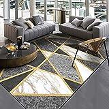 DEAR-JY Alfombra Moderna Cruzada de línea Dorada de mármol Gris Blanco y Negro, Adecuada para el Dormitorio Junto a la Sala de Estar alfombras de Piso de Cocina,160 * 230CM