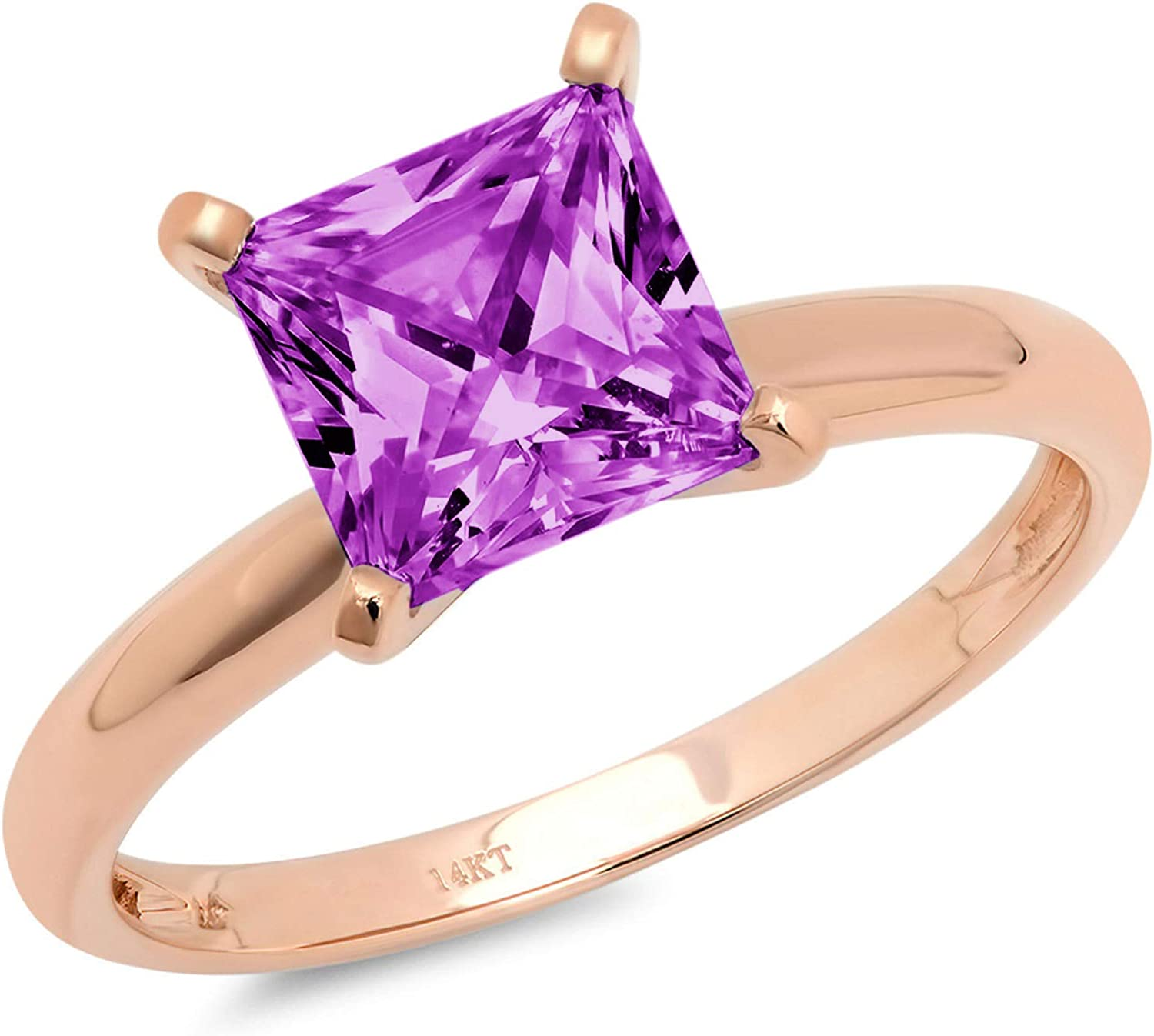 0.95 ct Brilliant Princess Cut Solitaire Flawless Simulated CZ Purple Alexandrite Ideal VVS1 4-Prong Engagement Wedding Bridal Promise Anniversary Designer Ring Solid 14k Rose Gold for Women