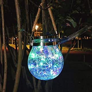 Mobestech Solar Lantern Crackle Glass Hanging Solar Jar Lights Decorative Lantern for Garden Patio Yard Outdoor Party, Col...