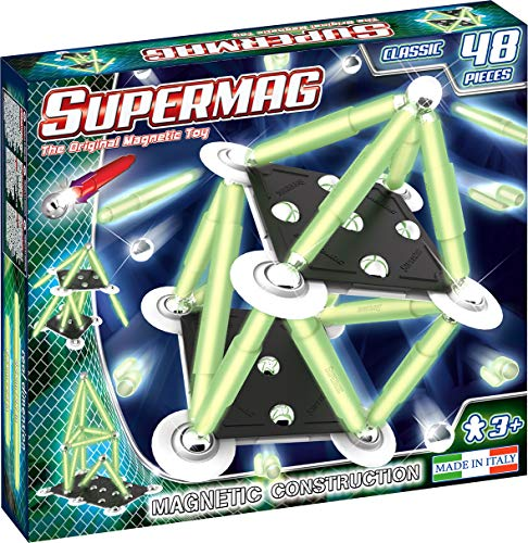 Supermag Toys-Supermag Glow 48 GIOCO DI COSTRUZIONI MAGNETICO, Multicolore, 0408